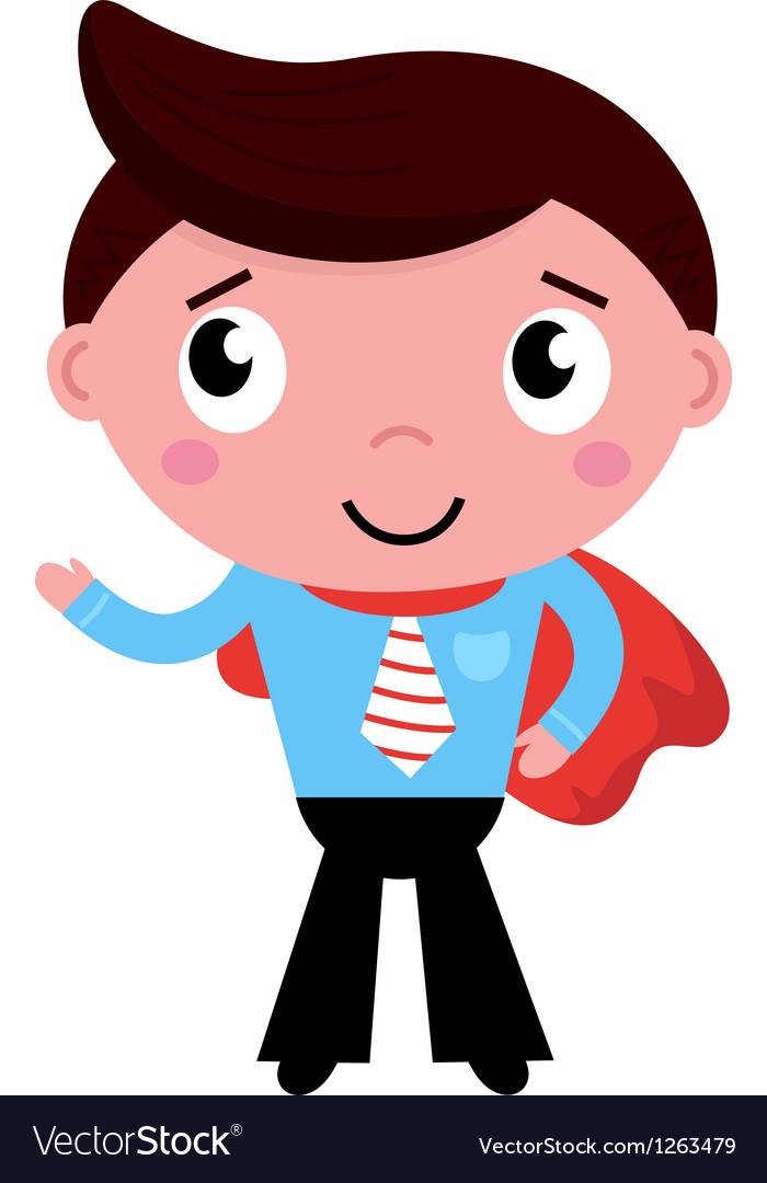 Cartoon superhero businessman in red cape vector | Price: 3 Credit (USD $3)