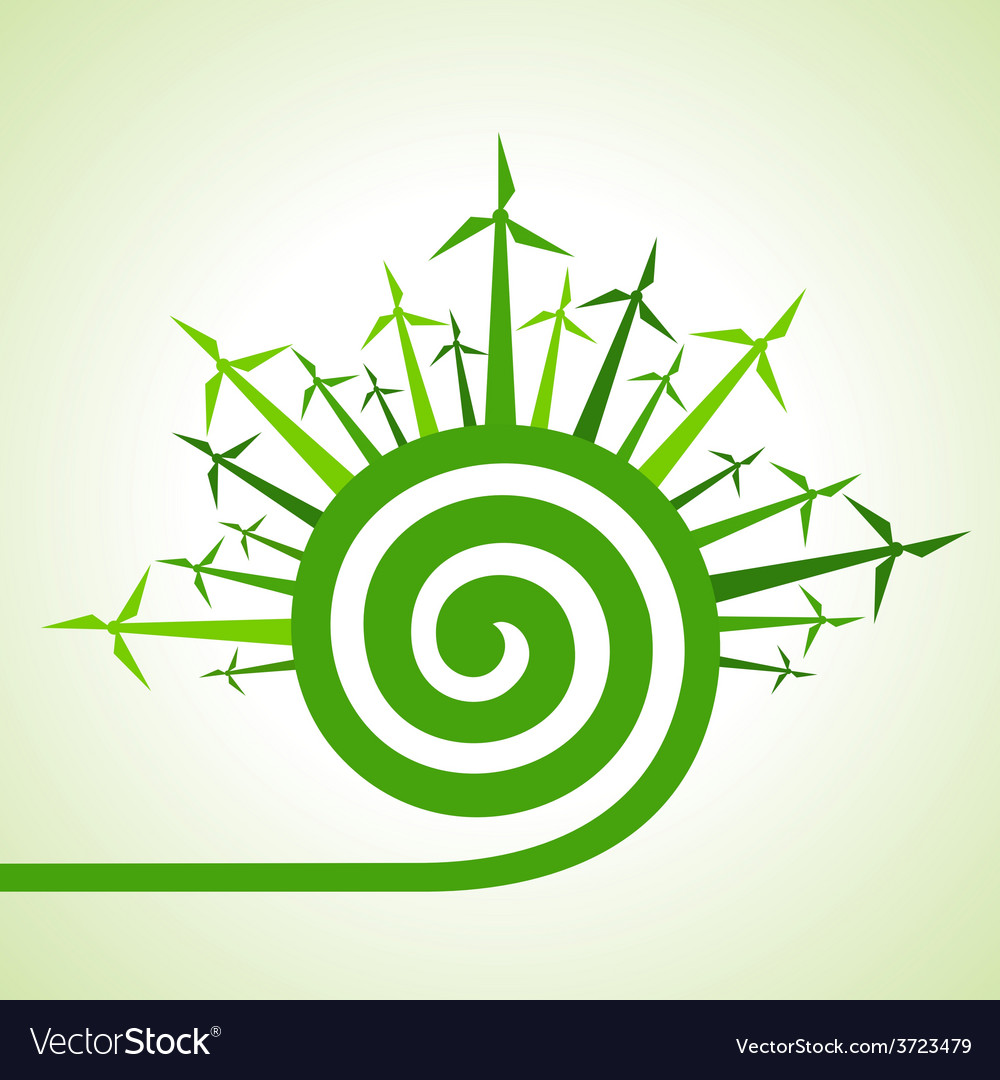 Ecology concept - wind mill with spiral design vector | Price: 1 Credit (USD $1)