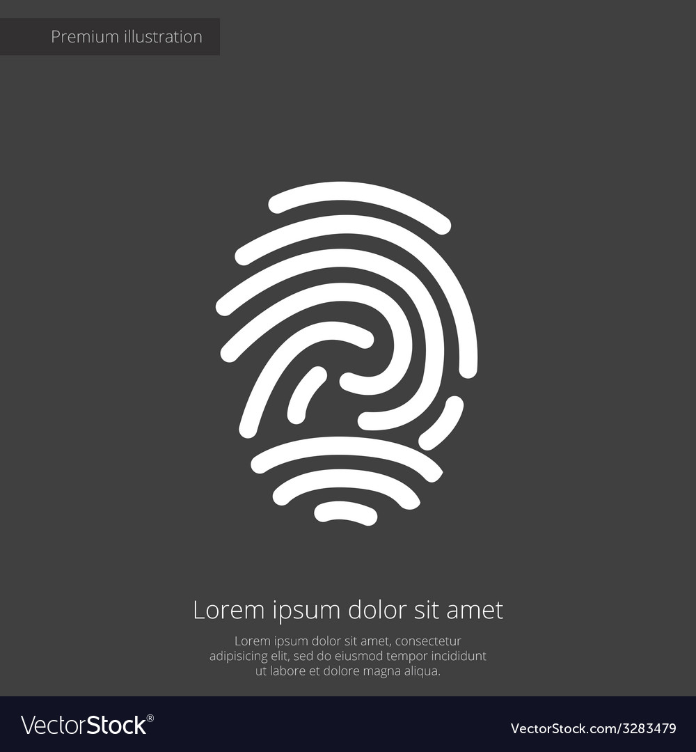 Fingerprint premium icon white on dark background vector | Price: 1 Credit (USD $1)
