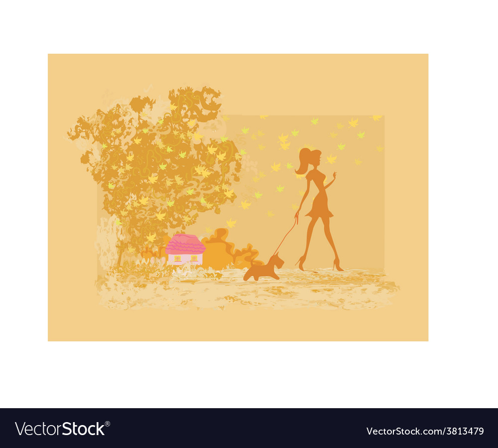Girl silhouette walking with her dog in autumn vector | Price: 1 Credit (USD $1)