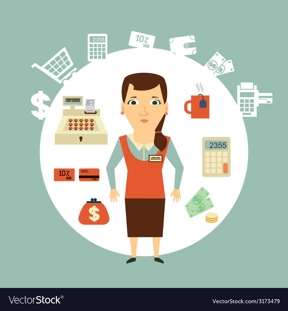 Grocery store cashier vector   Price: 1 Credit (USD $1)
