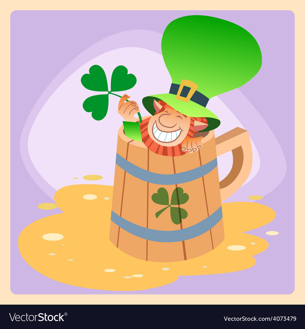 Leprechaun in a mug of beer st patrick day vector | Price: 1 Credit (USD $1)