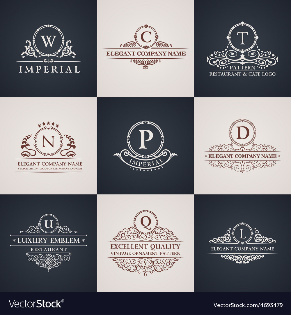 Luxury logo set calligraphic pattern elegant vector | Price: 1 Credit (USD $1)