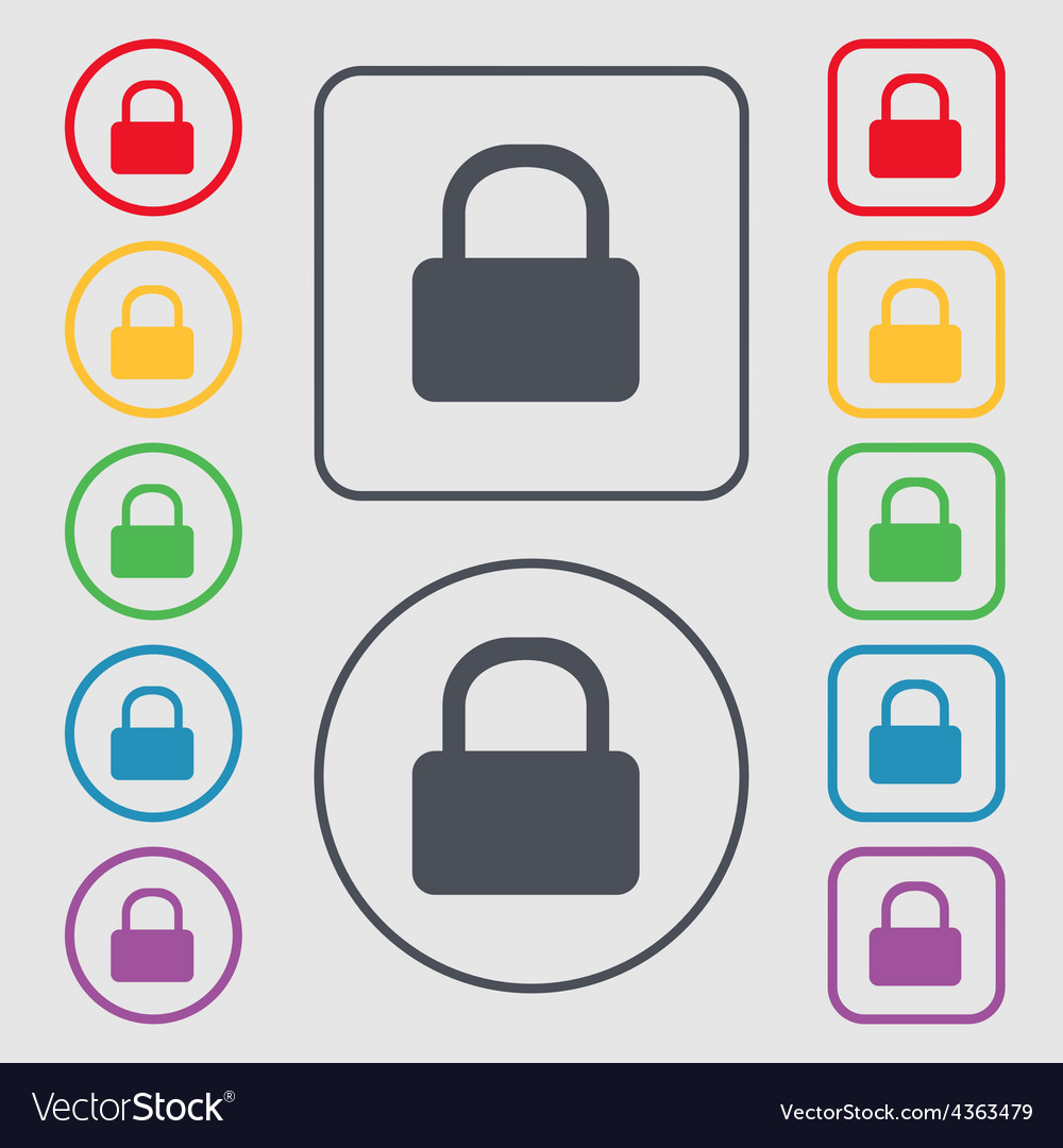 Pad lock icon sign symbol on the round and square vector | Price: 1 Credit (USD $1)