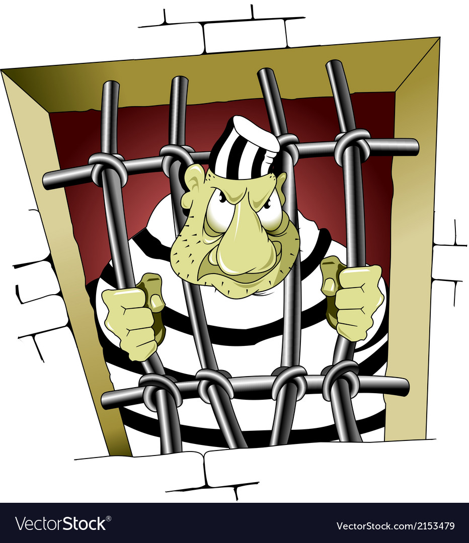 Prisoner behind bars cartoon vector | Price: 1 Credit (USD $1)