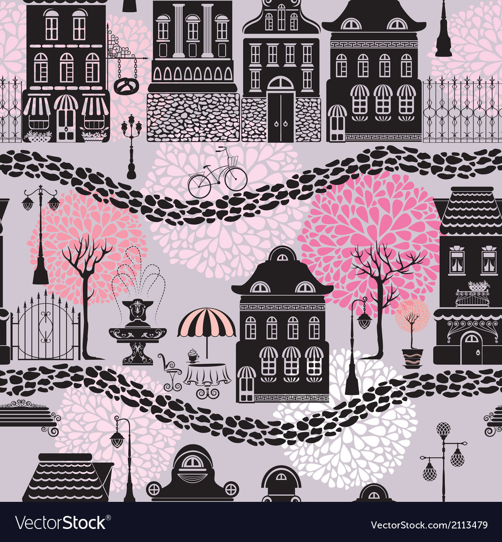 Seamless pattern with fairy tale houses lanterns s vector   Price: 1 Credit (USD $1)