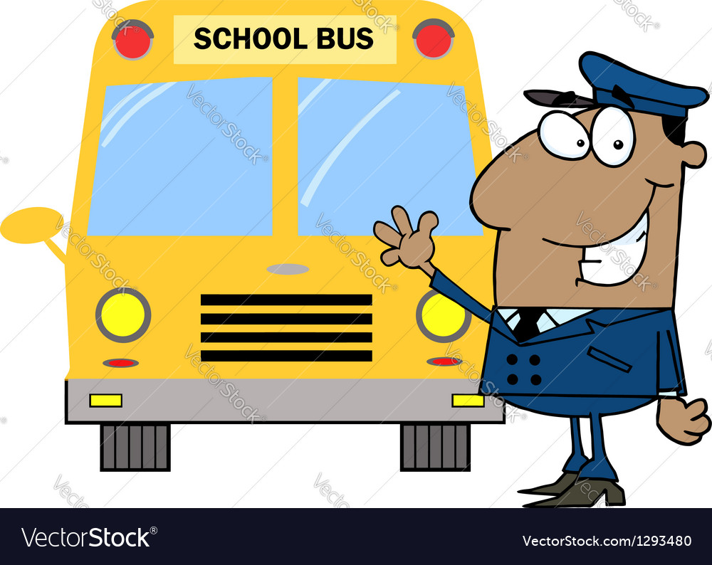 African american driver in front of school bus vector | Price: 1 Credit (USD $1)