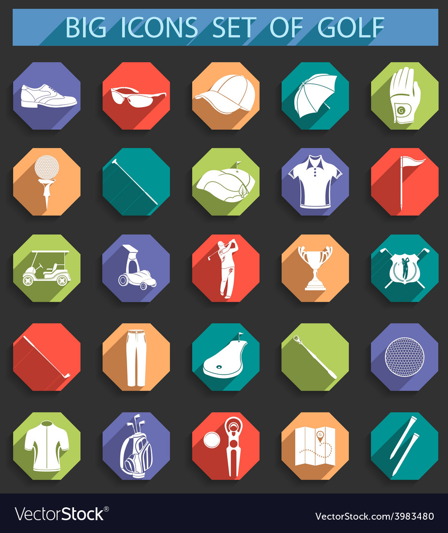 Creative icons on of golf in flat style vector | Price: 1 Credit (USD $1)