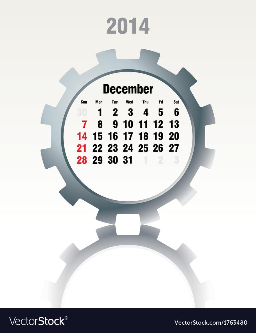 December 2014 - calendar vector | Price: 1 Credit (USD $1)