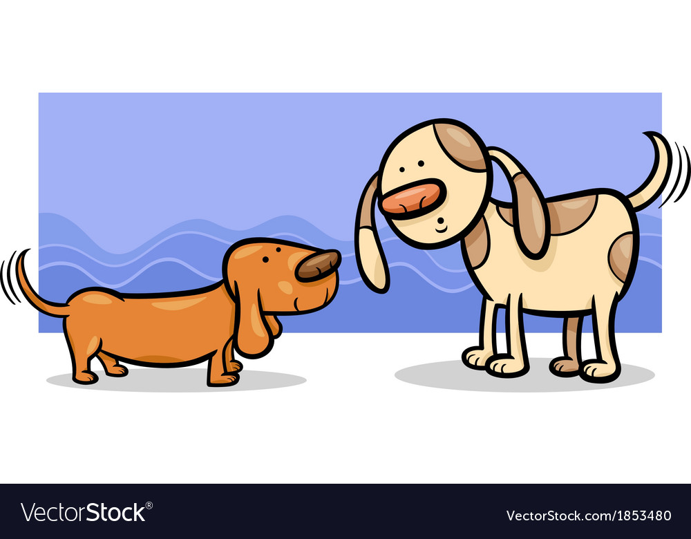 Dogs wagging tails cartoon vector | Price: 1 Credit (USD $1)