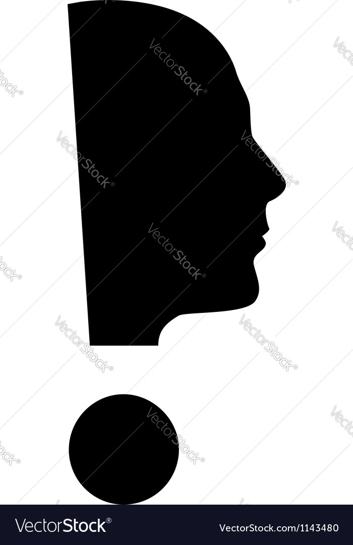 Human face with exclamation mark vector | Price: 1 Credit (USD $1)
