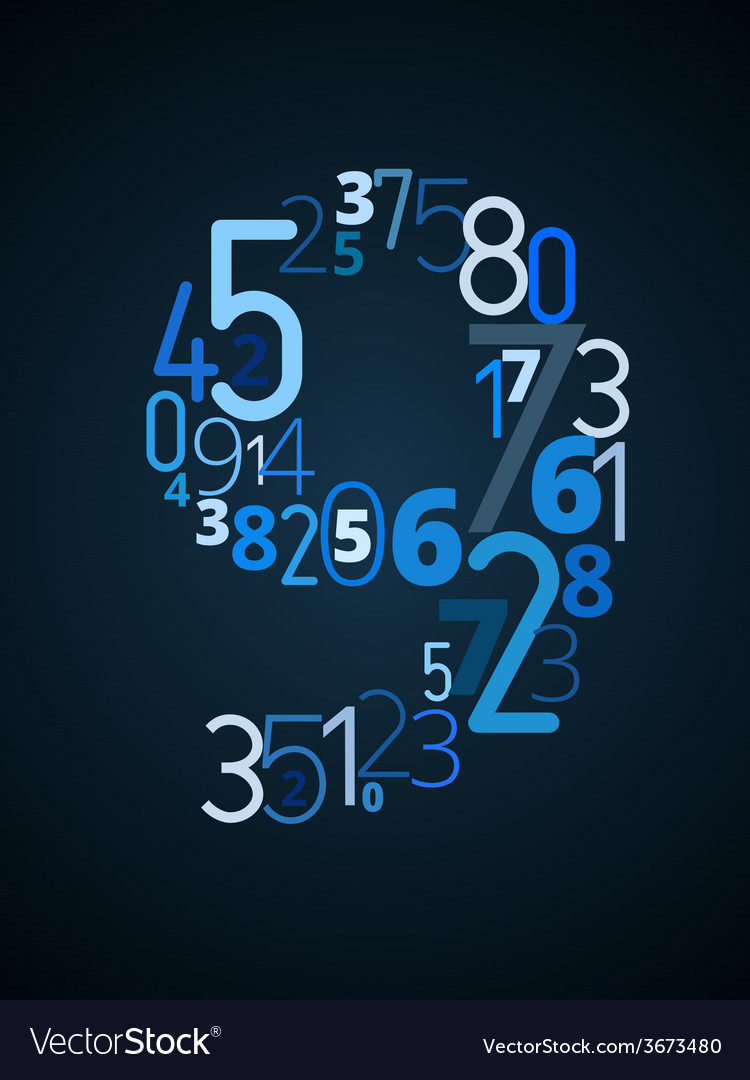 Number 9 font from numbers vector | Price: 1 Credit (USD $1)