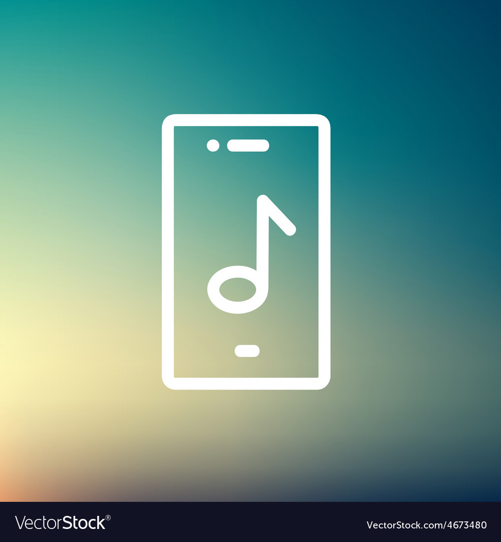 Phone with musical note thin line icon vector | Price: 1 Credit (USD $1)