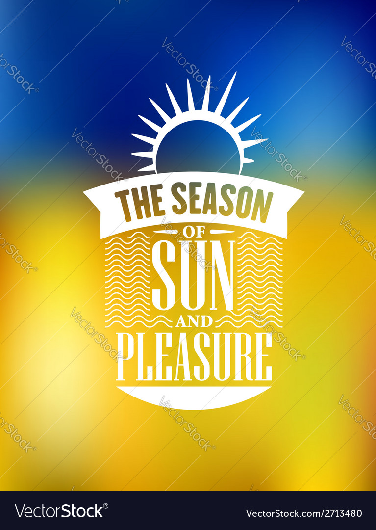 The season of sun and pleasure poster design vector | Price: 1 Credit (USD $1)