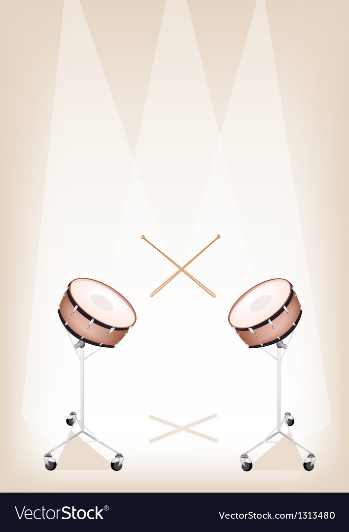 Two beautiful snare drum on brown stage background vector | Price: 1 Credit (USD $1)
