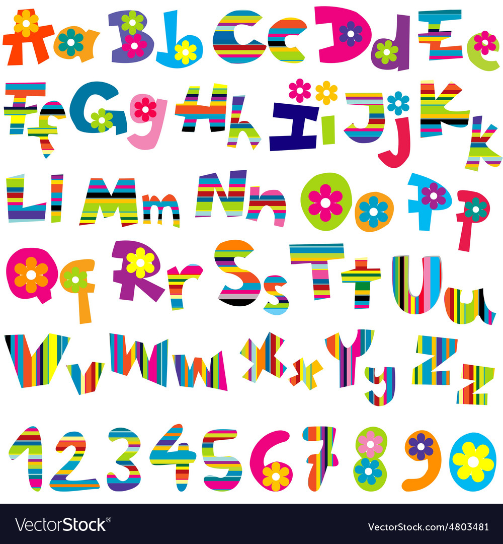 Alphabet set and numbers vector | Price: 1 Credit (USD $1)