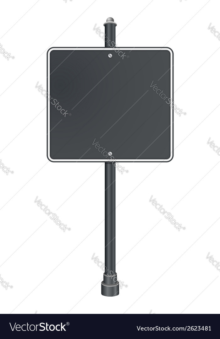 Blank gray traffic road sign on white background vector | Price: 1 Credit (USD $1)