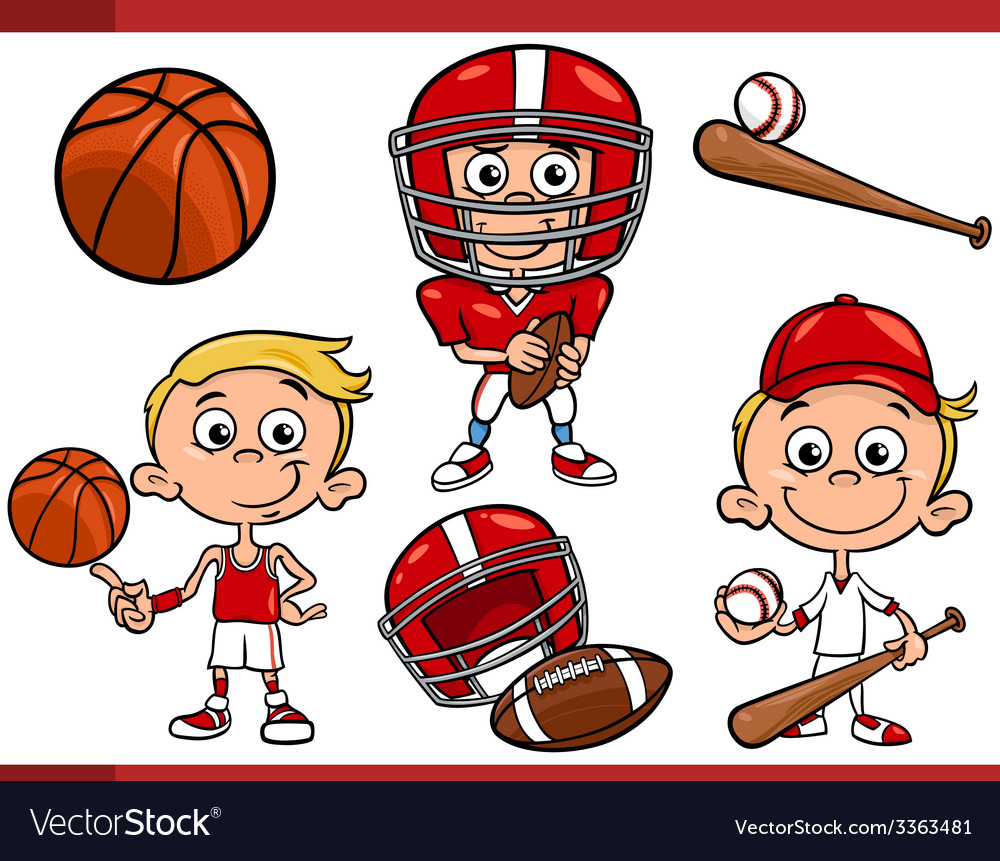 Boy with sport equipment cartoon set vector | Price: 3 Credit (USD $3)