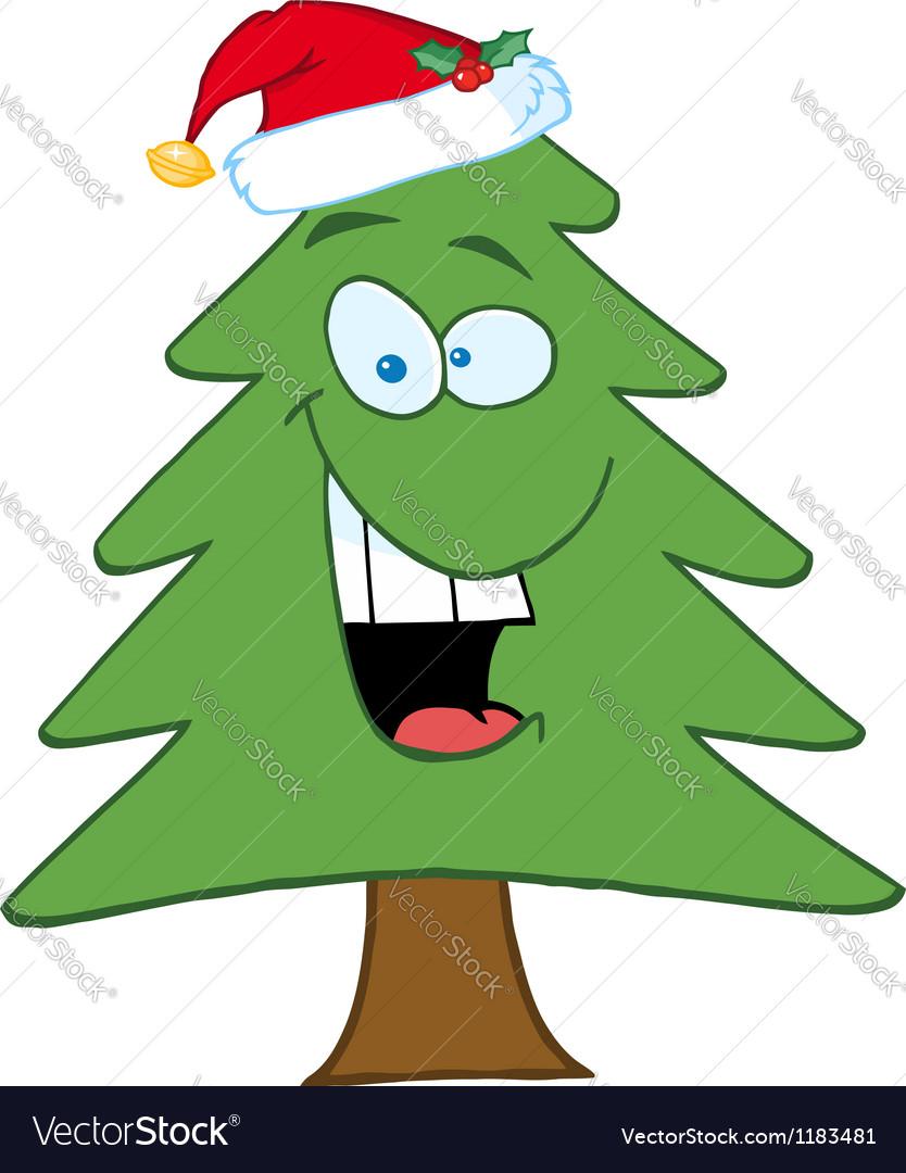 Cartoon christmas tree with santa hat vector | Price: 1 Credit (USD $1)