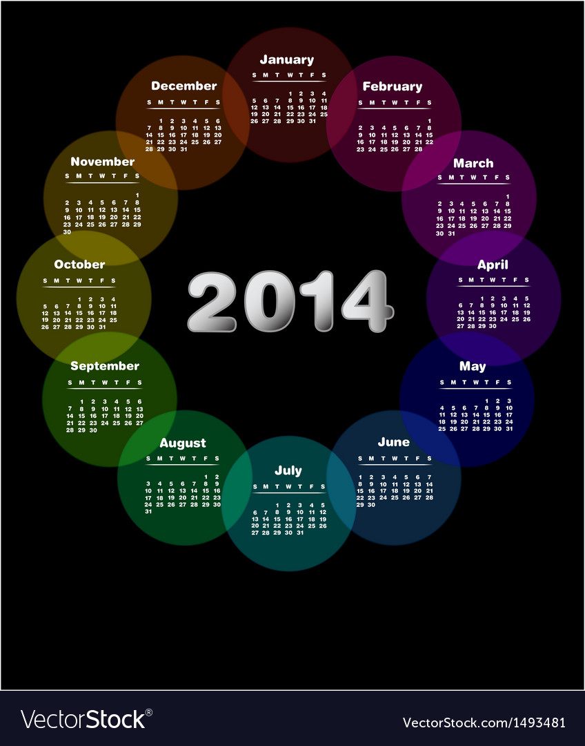 Colorful calendar for 2014 week starts on sunday vector | Price: 1 Credit (USD $1)