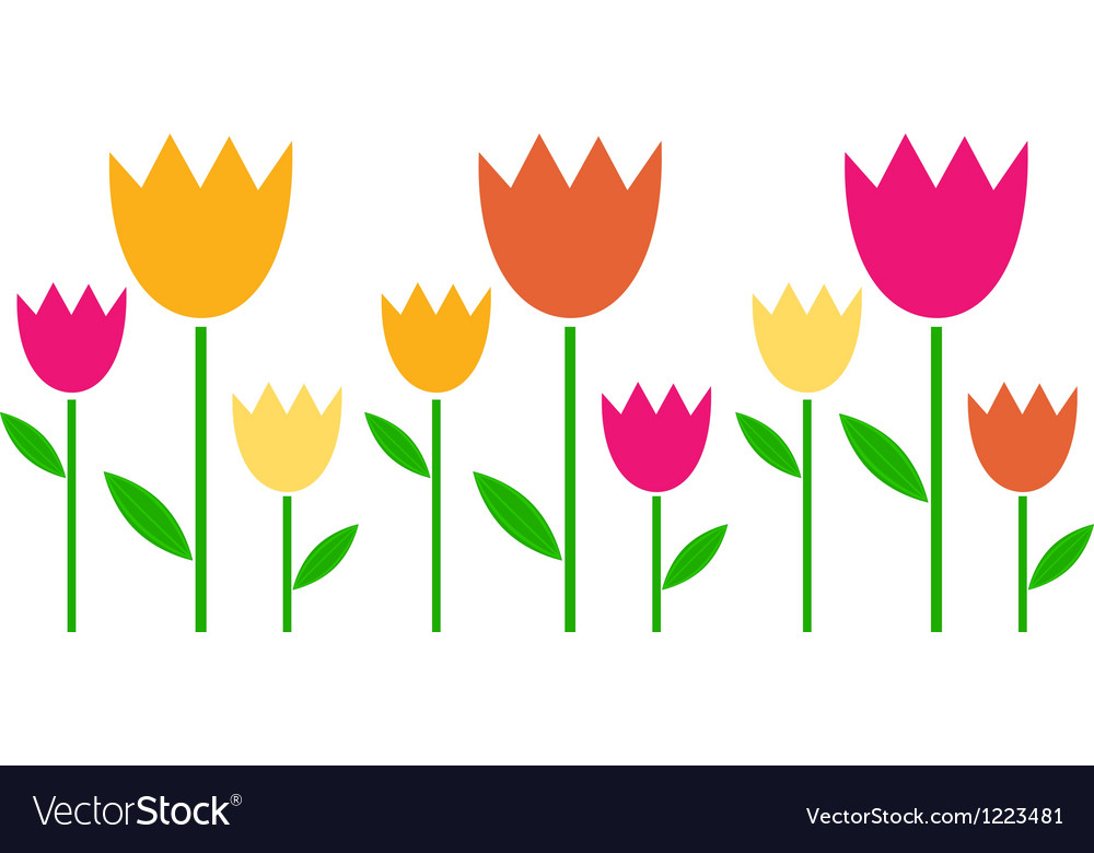 Colorful spring tulips in row isolated on white vector | Price: 1 Credit (USD $1)