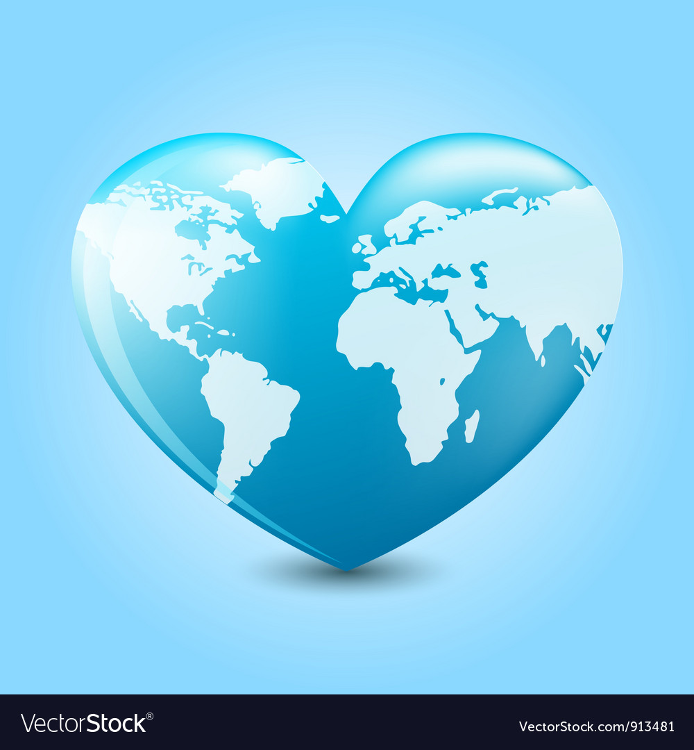 Earth heart vector | Price: 1 Credit (USD $1)