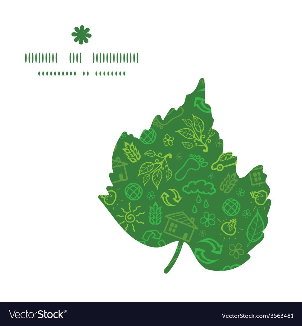Ecology symbols leaf silhouette pattern frame vector | Price: 1 Credit (USD $1)