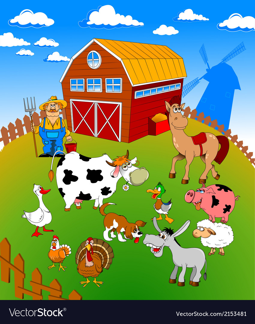 Farm scene cartoon vector | Price: 1 Credit (USD $1)
