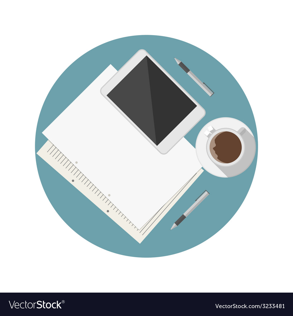 Flat icon for blogger work table vector | Price: 1 Credit (USD $1)