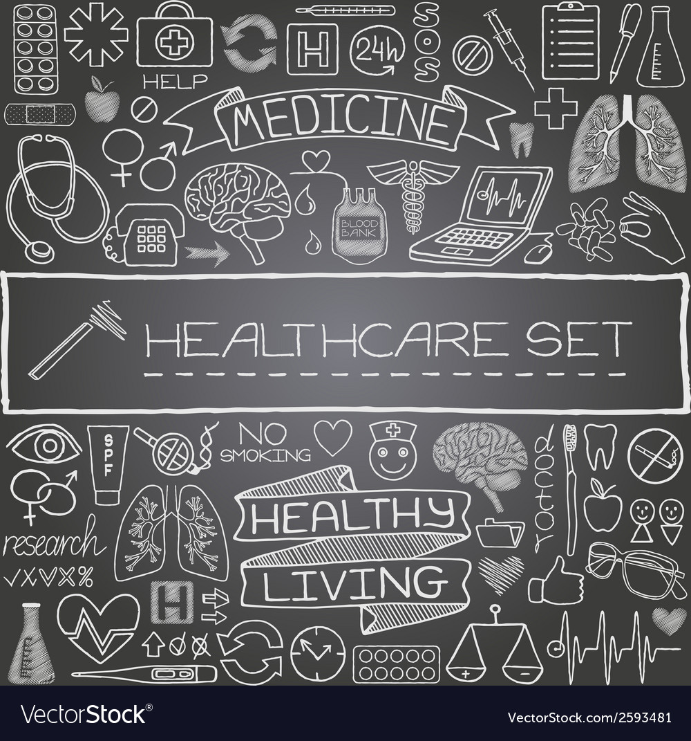 Hand drawn medical set of icons vector | Price: 1 Credit (USD $1)