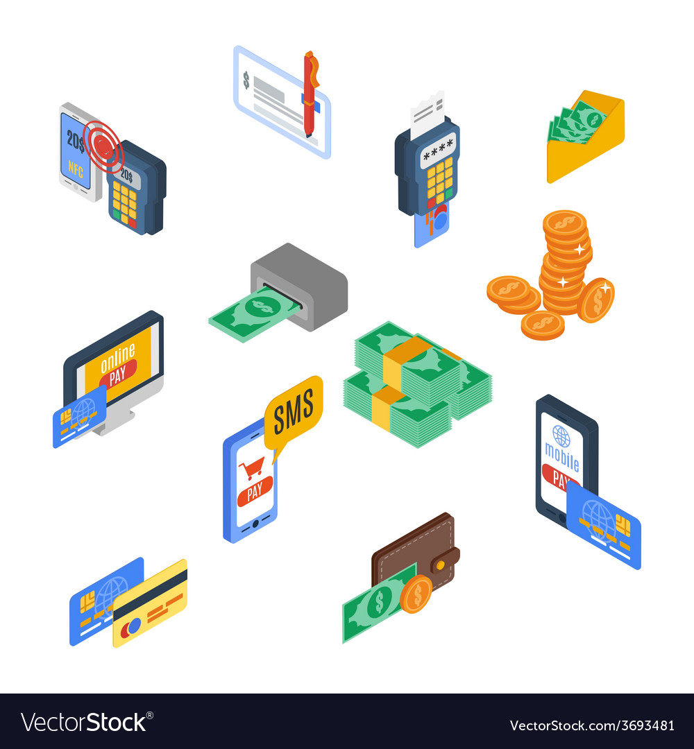 Payment icons isometric vector | Price: 1 Credit (USD $1)