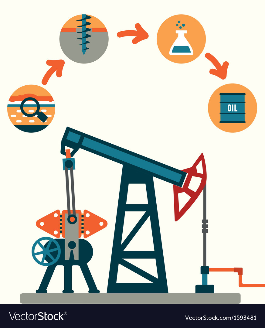 Process of oil production vector | Price: 1 Credit (USD $1)