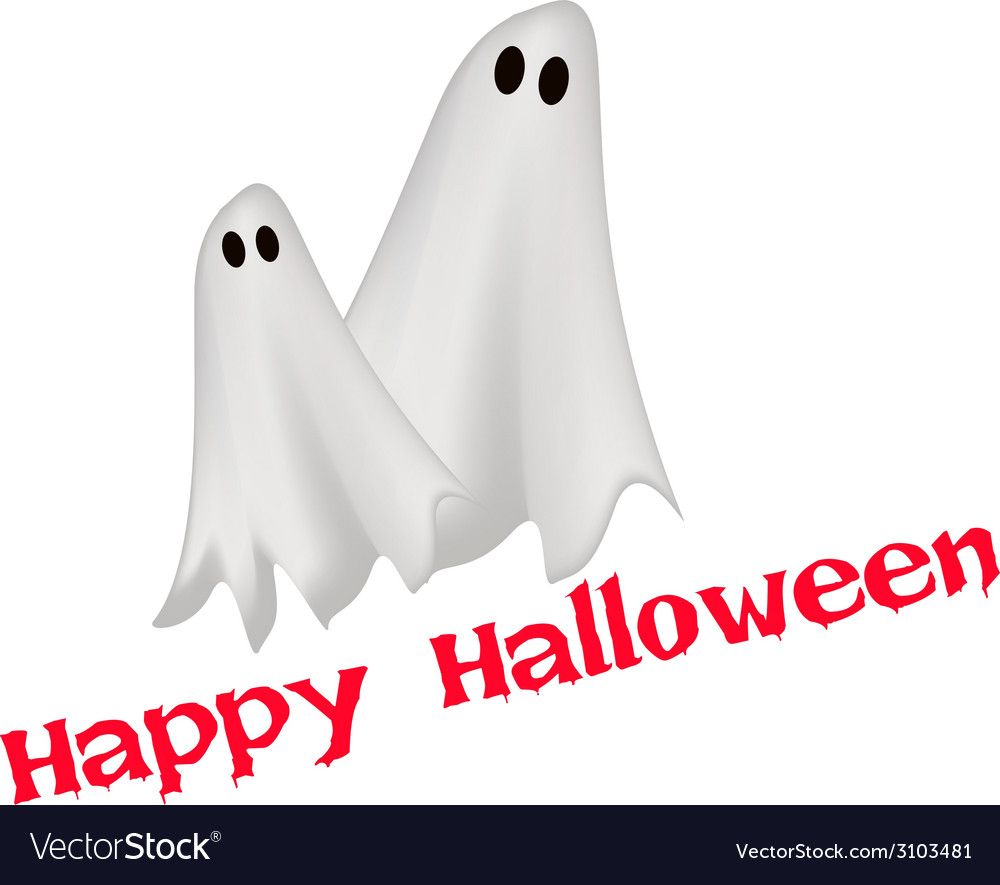 Two happy ghosts with word happy halloween vector | Price: 1 Credit (USD $1)