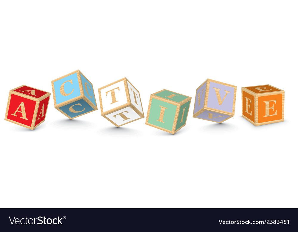 Word active written with alphabet blocks vector | Price: 1 Credit (USD $1)