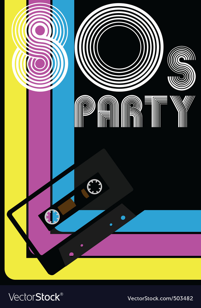 80s party poster vector | Price: 1 Credit (USD $1)