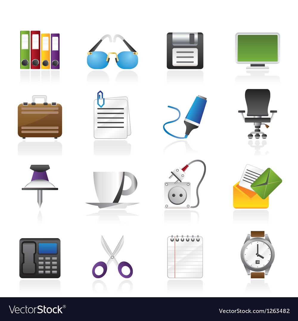 Business and office objects icons vector | Price: 3 Credit (USD $3)