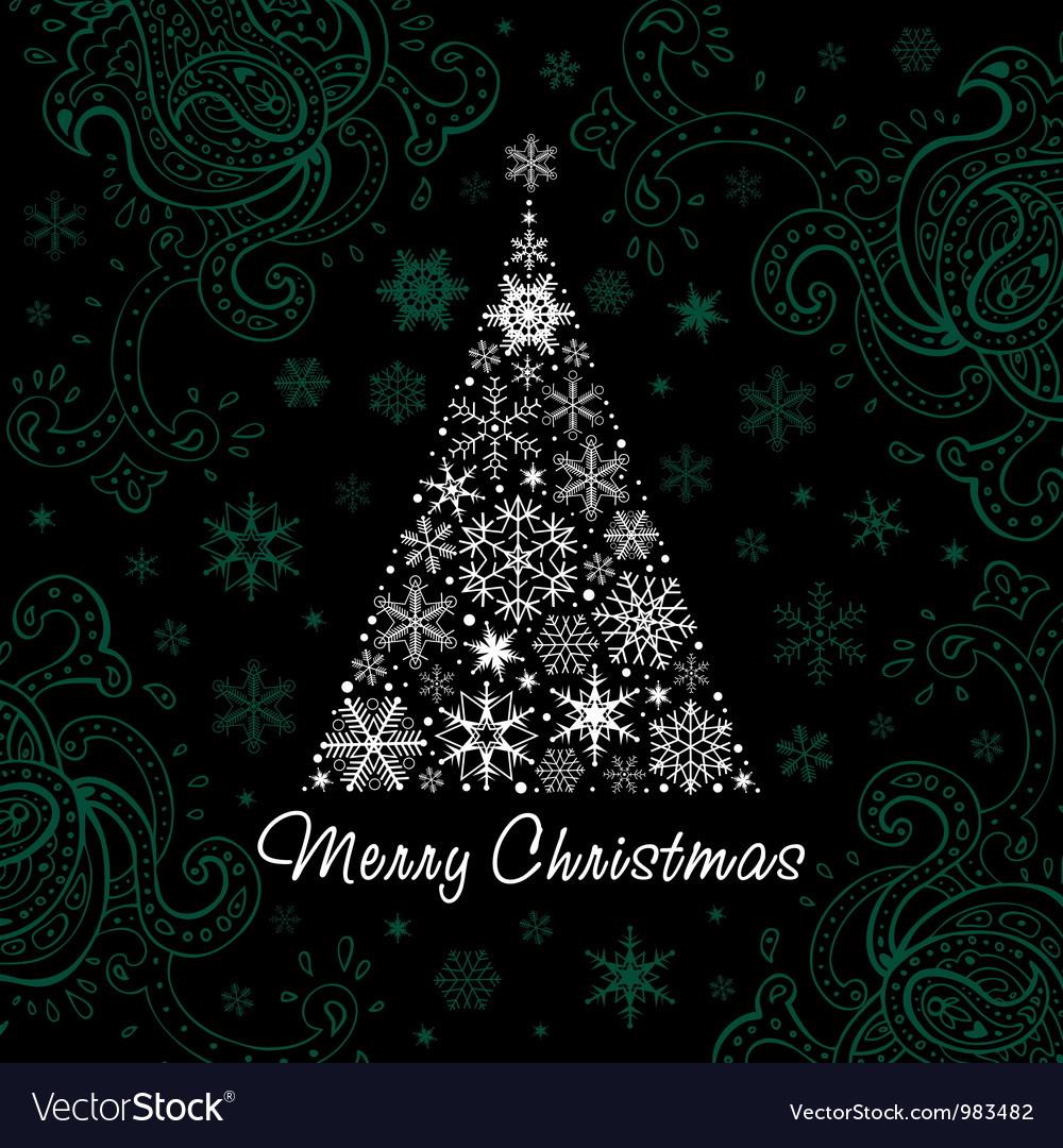 Christmas tree of snowflakes background vector | Price: 1 Credit (USD $1)