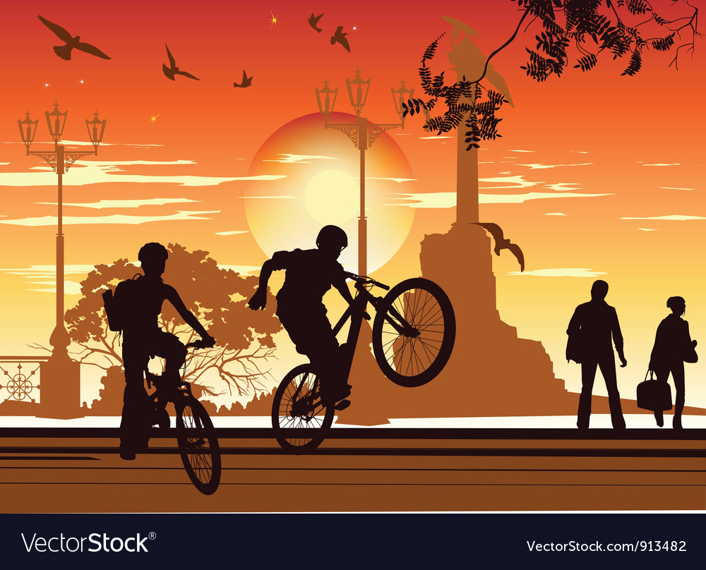 Cyclists perform tricks vector | Price: 1 Credit (USD $1)