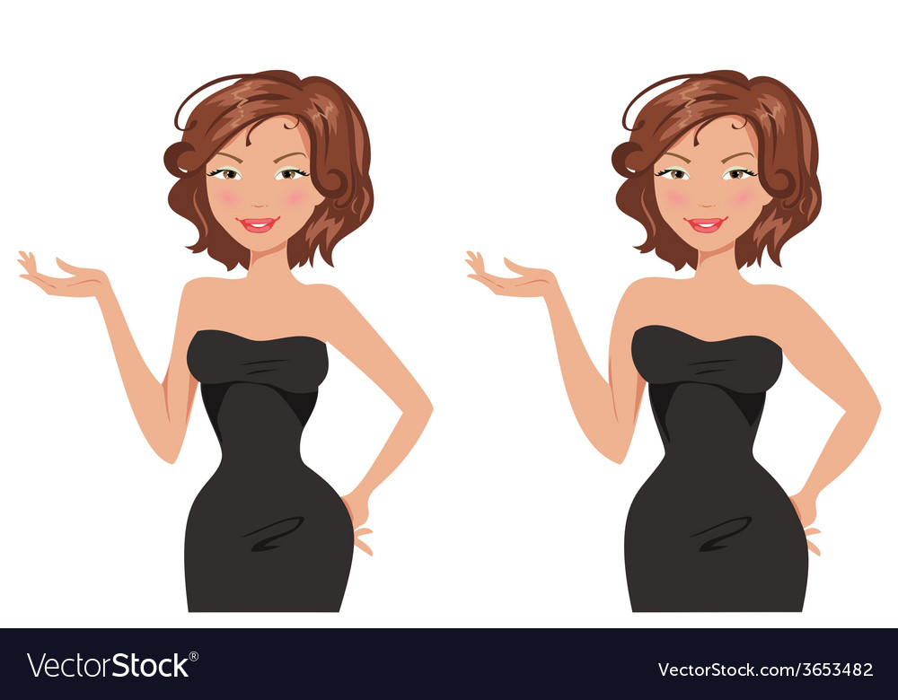 Fat and thin woman vector | Price: 1 Credit (USD $1)
