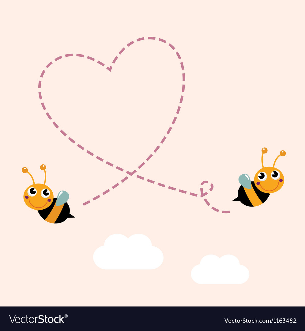 Flying bees making big love heart in the air vector   Price: 1 Credit (USD $1)