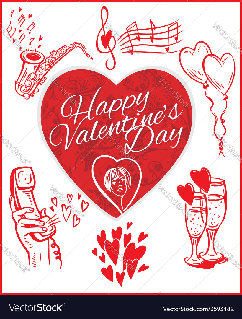 Happy valentines day - set vector | Price: 1 Credit (USD $1)