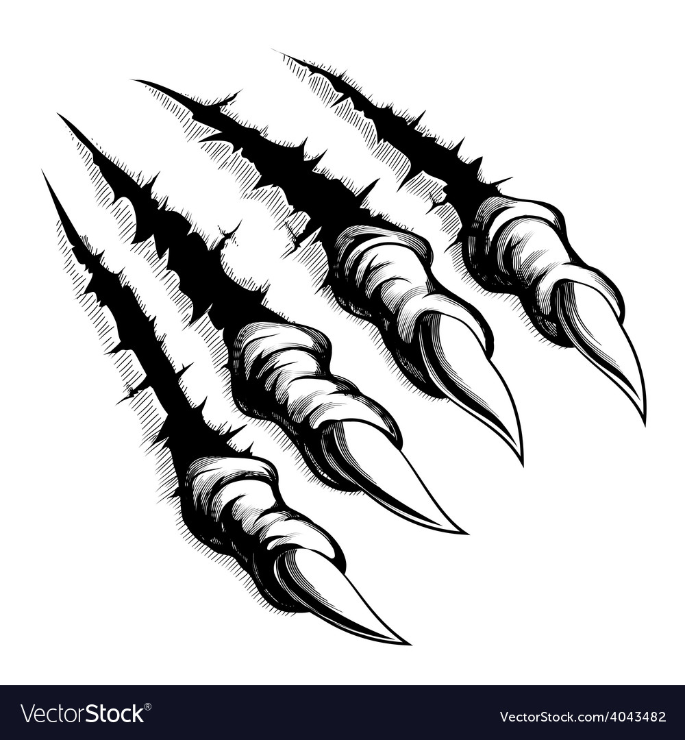 Monster claws break through white background vector