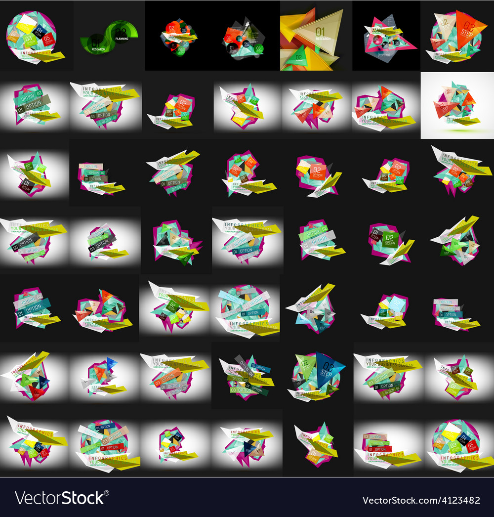 Paper graphic banners set mega collection vector | Price: 3 Credit (USD $3)