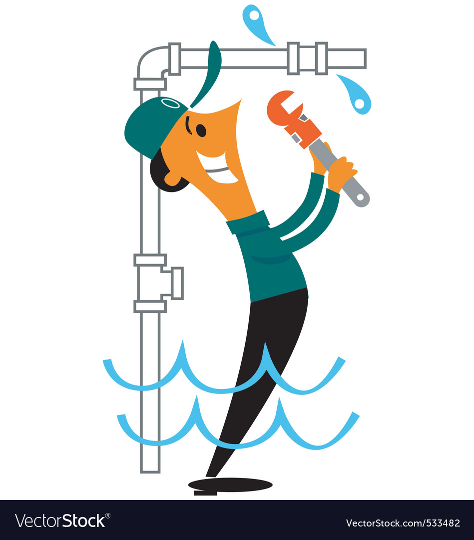 Plumber fixing leak vector | Price: 1 Credit (USD $1)