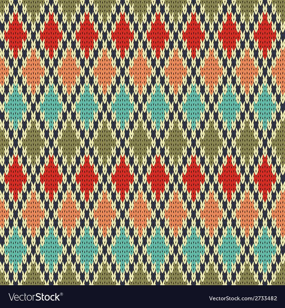 Seamless rhombus knitting pattern vector   Price: 1 Credit (USD $1)