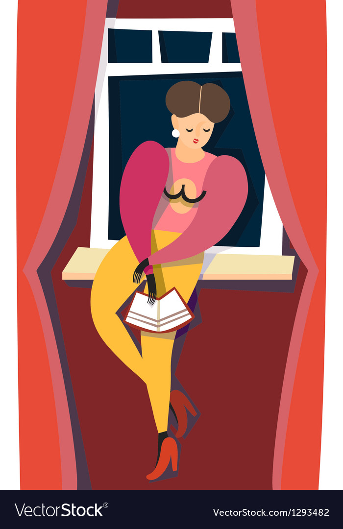 Sexy girl read book vector | Price: 1 Credit (USD $1)