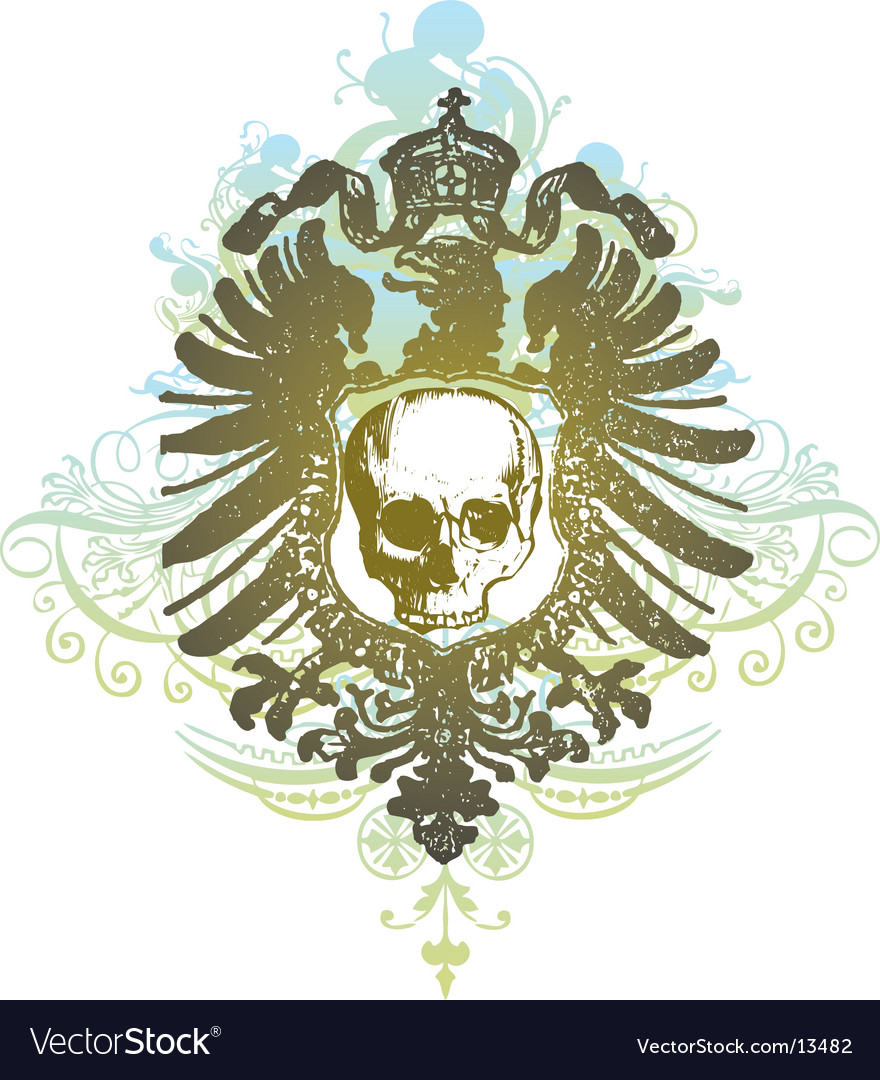 Skull banner heraldic illustration vector | Price: 1 Credit (USD $1)