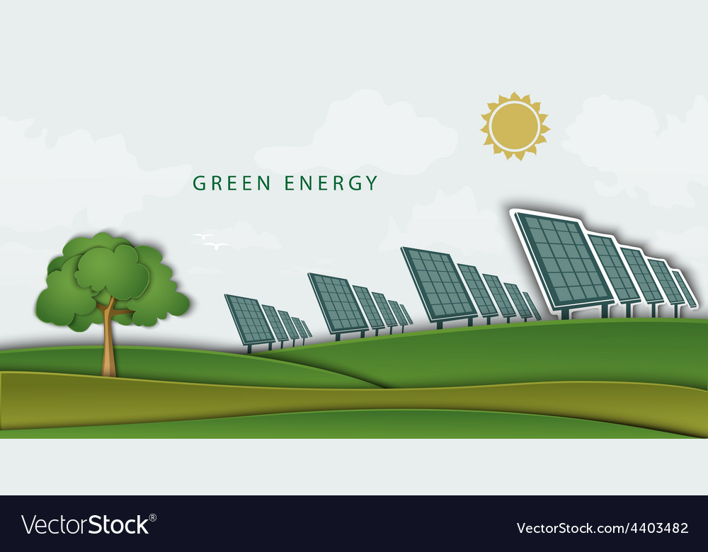 Solar panels batteries on clean field concept vector | Price: 1 Credit (USD $1)