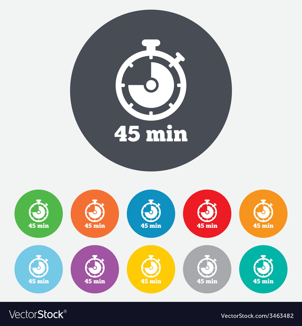 Timer sign icon 45 minutes stopwatch symbol vector | Price: 1 Credit (USD $1)