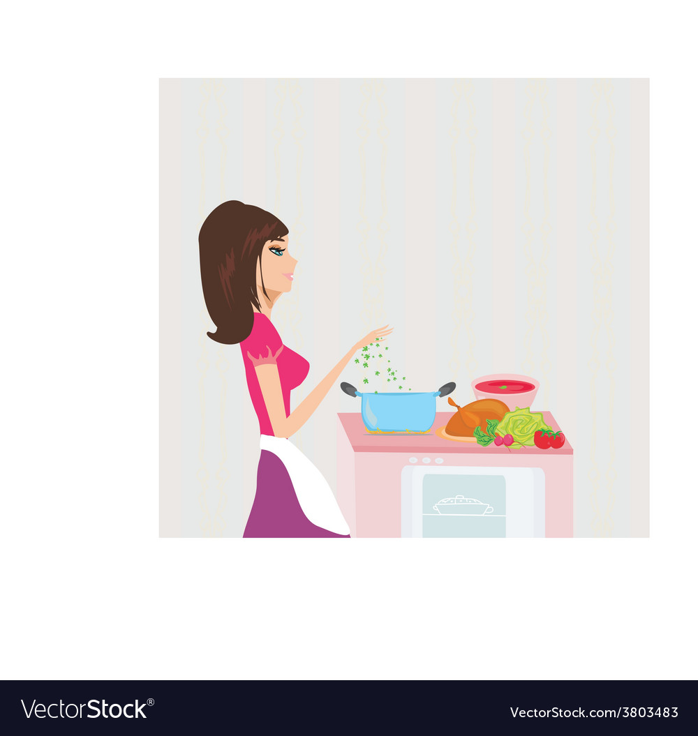 Beautiful lady cooking soup and serving chicken vector | Price: 1 Credit (USD $1)
